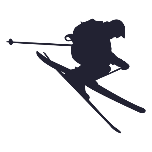 Ski Sliding In Jump Silhouette - Skiing, Transparent background PNG HD thumbnail