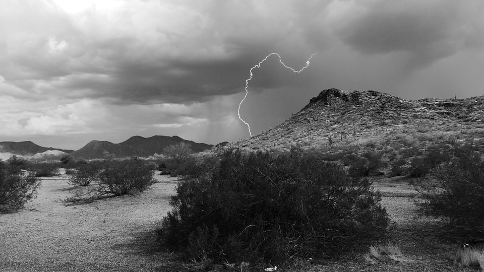 Lightning, Storm, Desert, Cactus - Sky Black And White, Transparent background PNG HD thumbnail