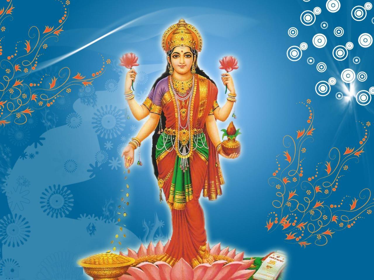 Lakshmi Devi - Standing Laxmi, Transparent background PNG HD thumbnail