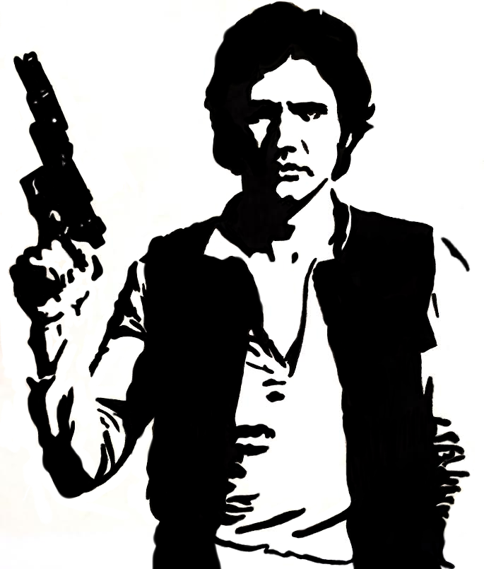 Star Wars Black And White Han Solo Illustration - Star Wars Black And White, Transparent background PNG HD thumbnail