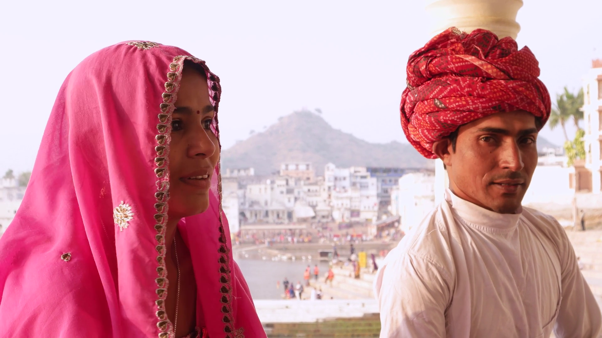 Traditional Dress Of Rajasthan Png - Indian Couple In Traditional Dress Sitting With Pushkar Lake In The Background, Rajasthan, India Stock Video Footage   Videoblocks, Transparent background PNG HD thumbnail