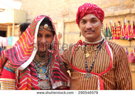 Traditional Dress Of Rajasthan Png - Jaisalmer, India   Feb 03: Unidentified Rajasthani Couple Dressed Up In Traditional Costume And, Transparent background PNG HD thumbnail