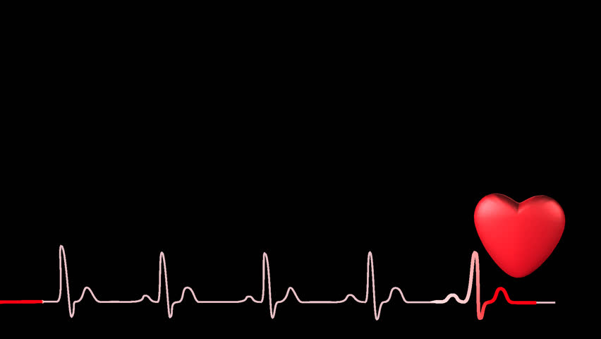 3D Heart Symbol With Synchronized Red Ecg Trace, Beating At Just Over 90Bpm, Seamless - Transparent, Transparent background PNG HD thumbnail