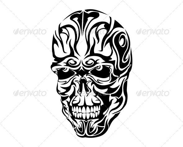 Tribal Skull Tattoo Design - Tribal Skull Tattoos, Transparent background PNG HD thumbnail