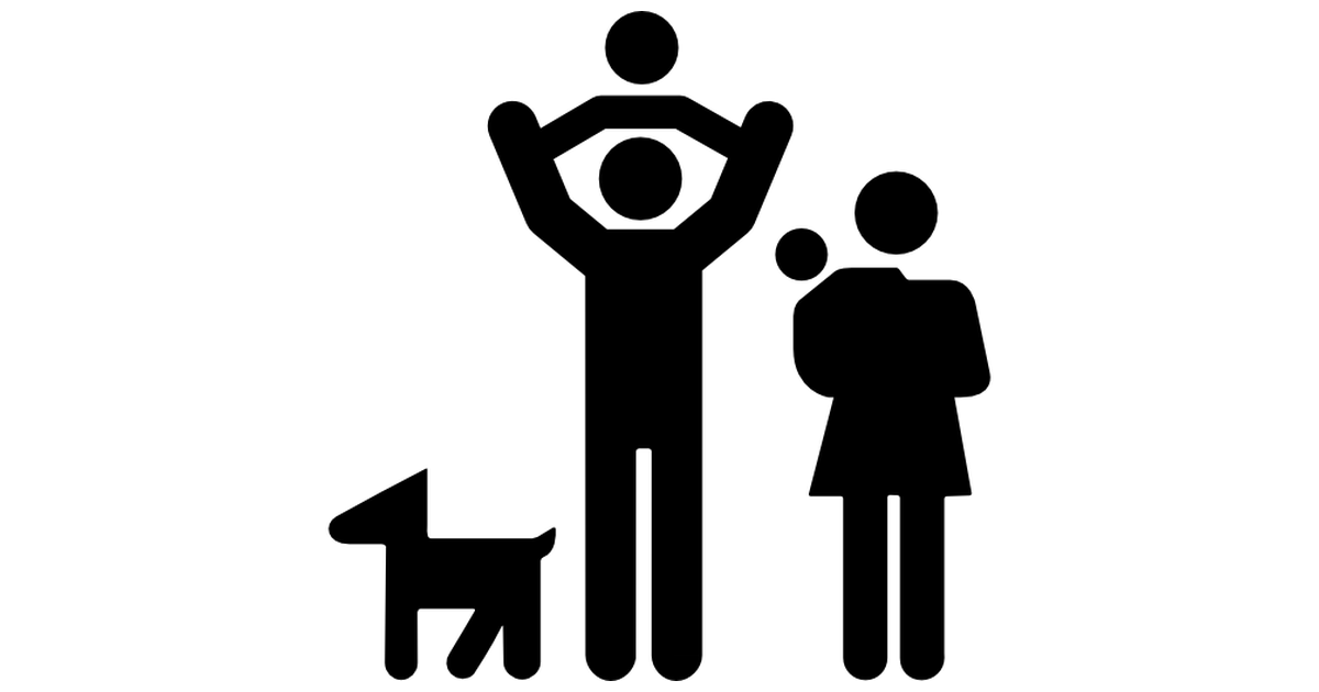 Family Group Of Father And Mother With Two Babies And A Dog   Free People Icons - Two Babies, Transparent background PNG HD thumbnail