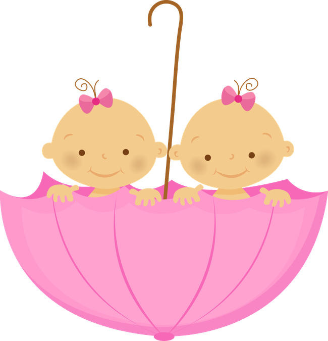 Twin Girls Baby Clothes Has Weu0027Re Twins Quote In Pink With Two Little Baby Girls In A Pink Umbrella. - Two Babies, Transparent background PNG HD thumbnail