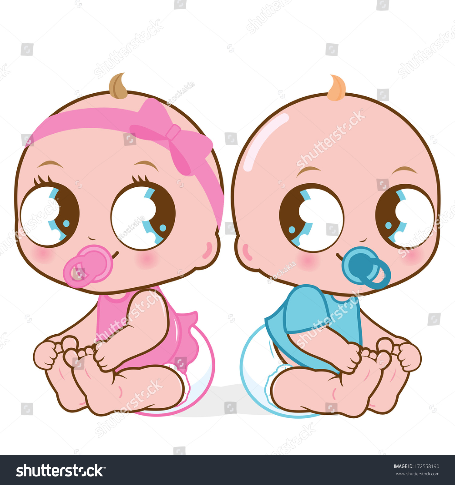 Two Cute Twin Babies, A Girl And A Boy #172558190 - Two Babies, Transparent background PNG HD thumbnail