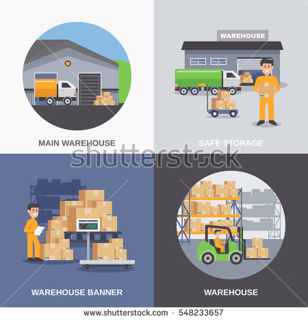 Warehouse 2X2 Flat Design Concept With Storage Building And Workers Loading Boxes By Fork Lifts Vector - Warehouse Group Vector, Transparent background PNG HD thumbnail