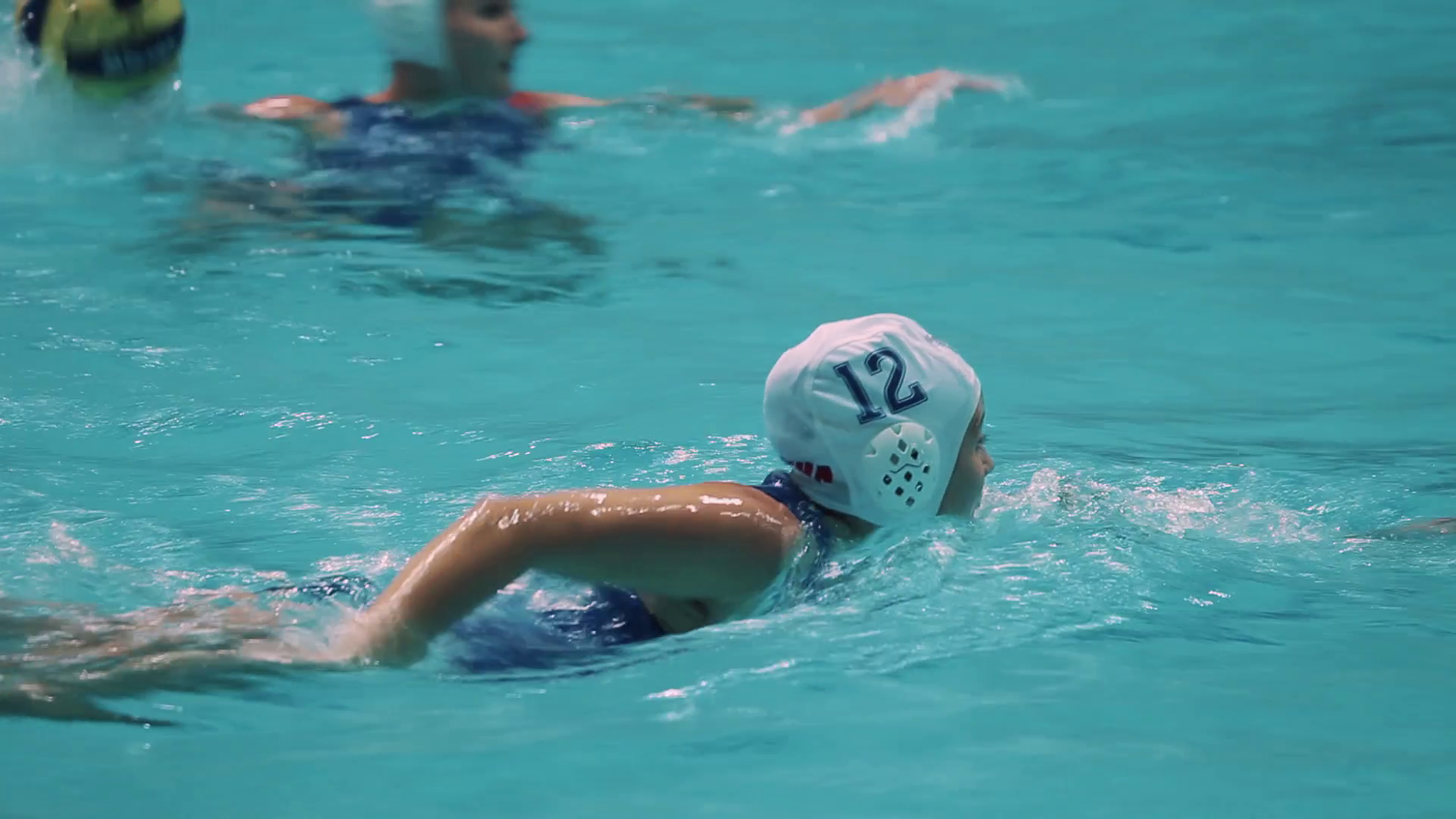 Water Polo Png Hd - Female Water Polo Players In Blue And White Swimwear Energetically Swimming During Match In Pool With Lot Of Splashes Stock Video Footage   Videoblocks, Transparent background PNG HD thumbnail