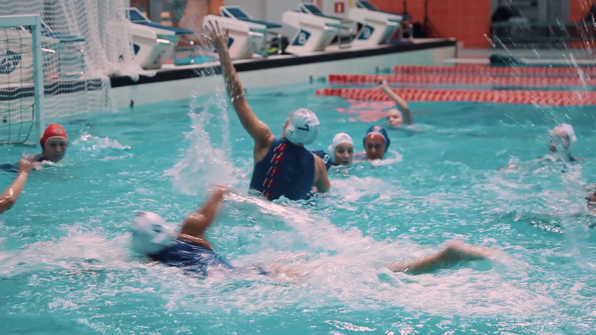 Water Polo Png Hd - Women Water Polo Players In Blue And White Caps Activly Fight For Ball At Gates During Match In Pool With Lot Of Splashes Stock Video Footage   Videoblocks, Transparent background PNG HD thumbnail