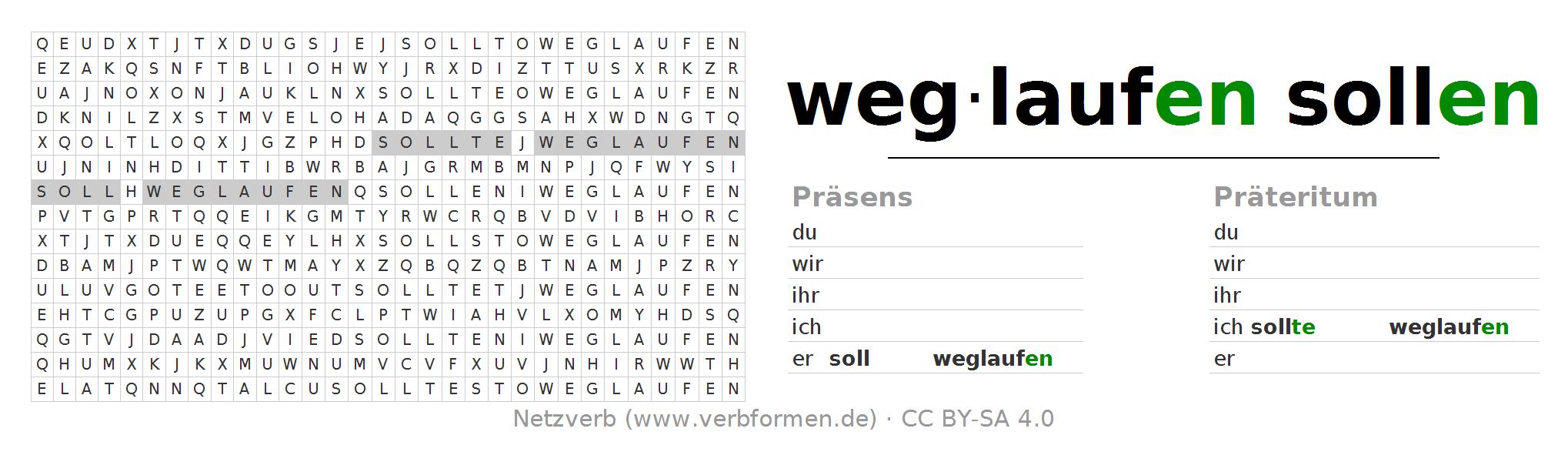 Wortsuchrätsel Für Die Konjugation Des Verbs Soll Weglaufen - Weglaufen, Transparent background PNG HD thumbnail