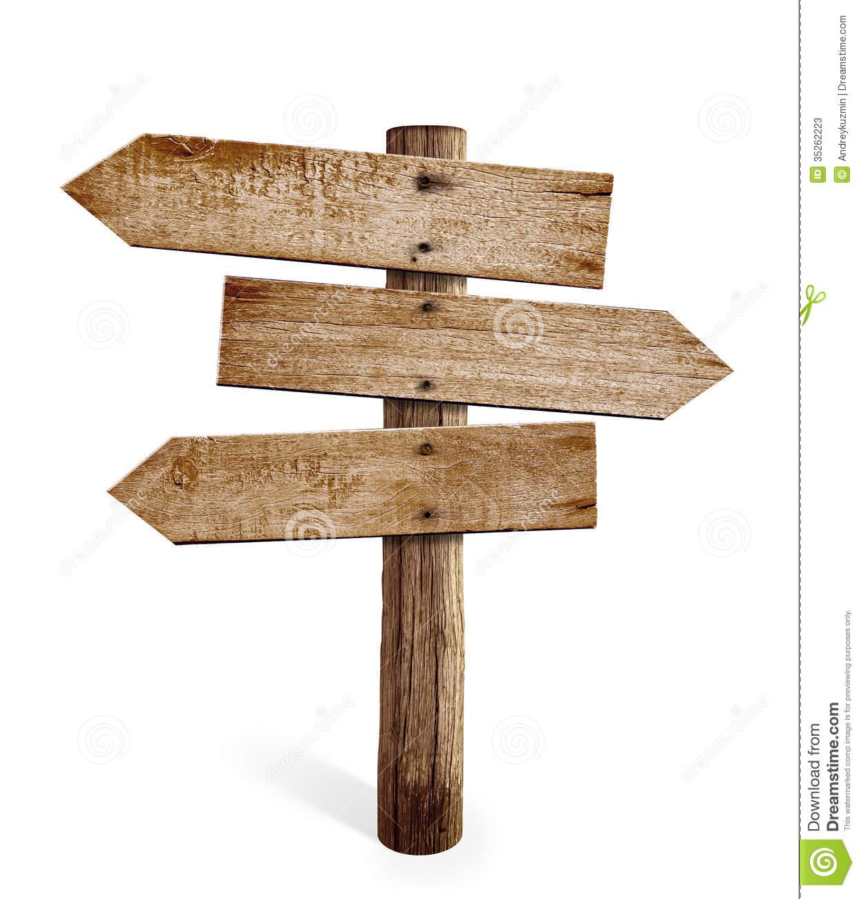 Hölzerner Pfeilwegweiser Oder Straßenwegweiser Lokalisiert Stockfotos - Wegweiser Holz, Transparent background PNG HD thumbnail