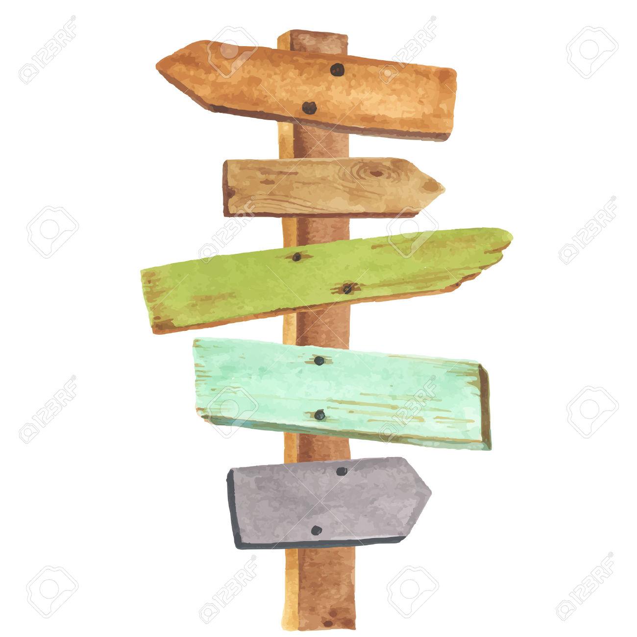 Wegweiser Holz: Aquarell Wegweiser Aus Holz. Wegbeschreibung Zu Verschiedenen Orten. Illustration - Wegweiser Holz, Transparent background PNG HD thumbnail