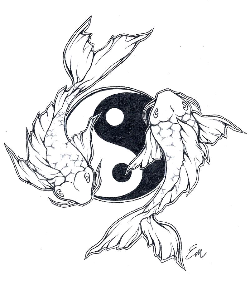 Yinyang Koi Fish Tattoo Design By Les Belles Soeurs.deviantart Pluspng.com On - Fish Tattoos, Transparent background PNG HD thumbnail
