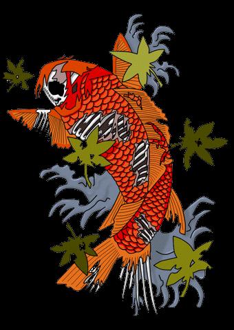 Zombie Koi Fish Tattoo Sample - Fish Tattoos, Transparent background PNG HD thumbnail